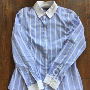 Blue White Non-Iron Banana Republic Fitted Shirt